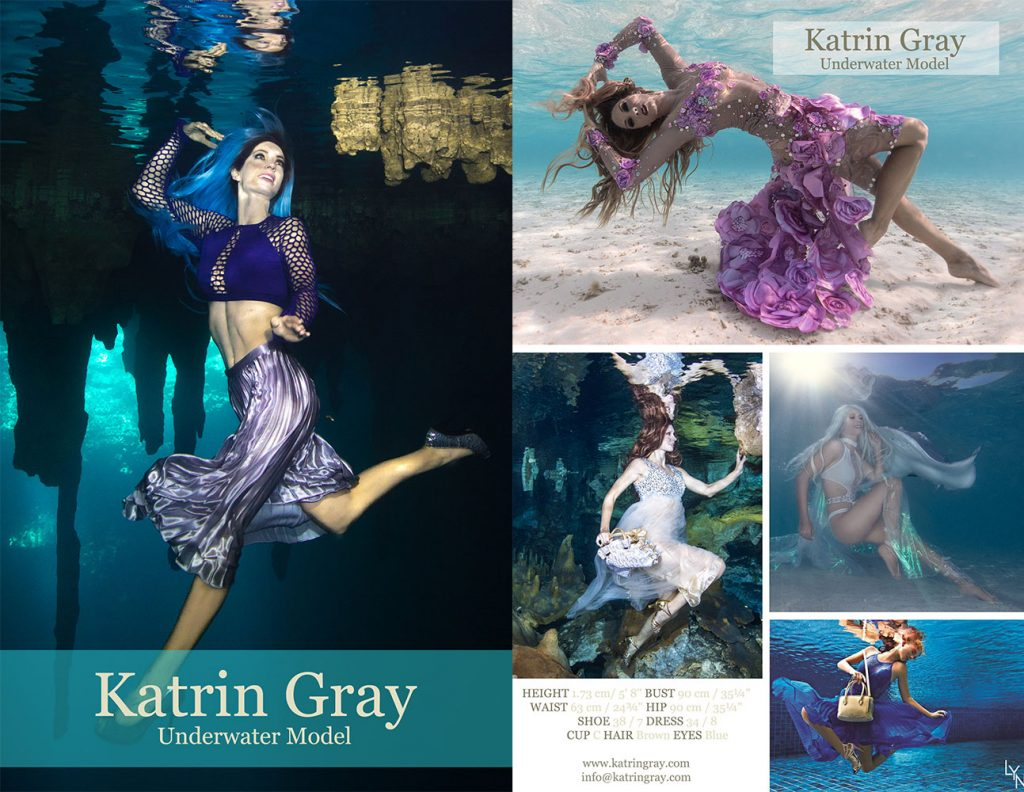 Underwater Model Comp Card Katrin Gray Australia